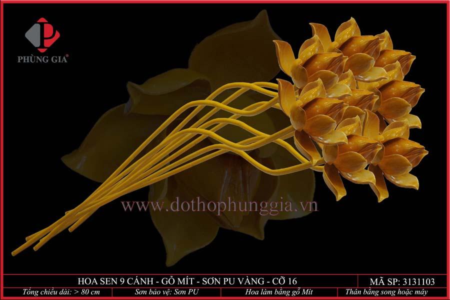 Hoa sen 9 cánh gỗ mít sơn vàng cỡ 16