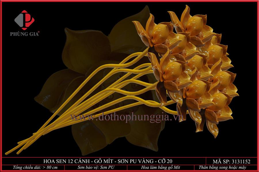 Hoa sen 12 cánh gỗ mít sơn vàng cỡ 20