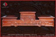 Tam cấp Ø20 gỗ hương đục nổi chữ thọ và hoa đào