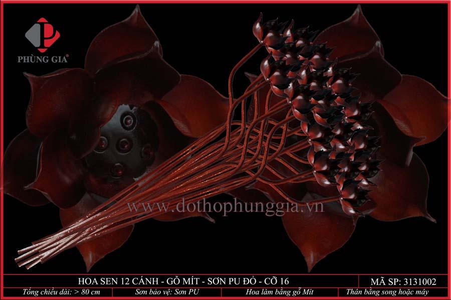 Hoa sen 12 cánh gỗ mít sơn đỏ cỡ 16