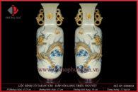 Bình hoa rạn nổi H47cm Long Triều Nguyệt – Kiểu cổ vuông có tai