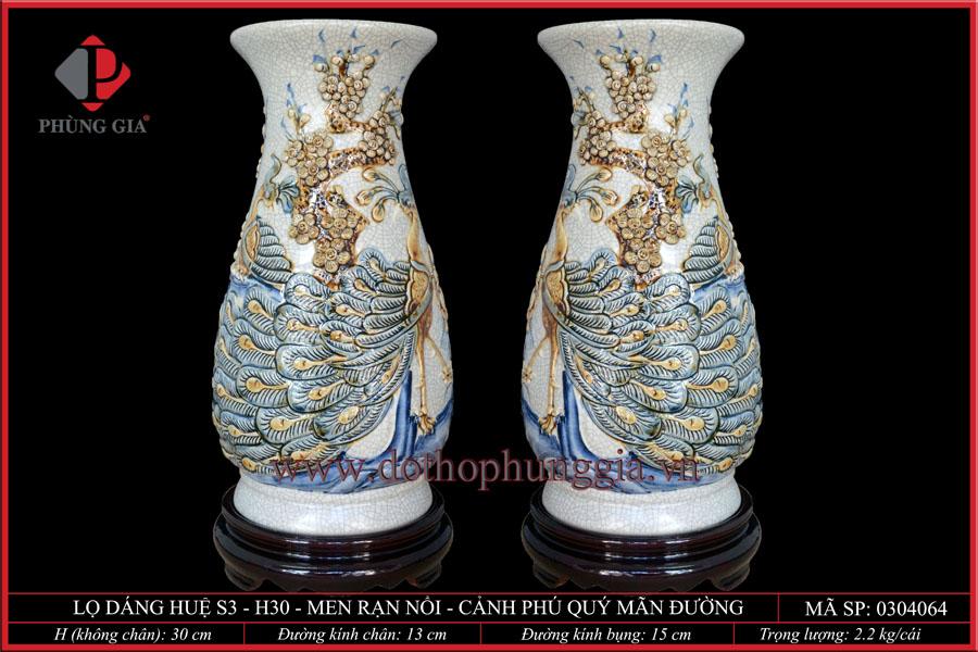 Bình hoa huệ rạn nổi S3 – H30cm – Đắp Phú Quý Mãn Đường