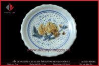 Đĩa trầu cau và đĩa xin âm dương Ø13cm đắp nổi quả đào