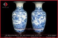 Lục bình dáng béo S1-H46 men trắng xanh vẽ Tứ Linh