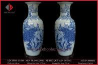 Lục bình S1-H60 men trắng xanh vẽ Chim Công & Hoa Đào