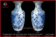 Lục bình dáng béo S1-H46 men trắng xanh vẽ Chim Công & Hoa Đào
