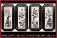Tranh sứ phong thủy S3 – H83*W40 – Vẽ Tứ Cảnh cổ đồ nổi đen trắng