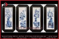 Tranh sứ phong thủy S3 – H83*W40 – Vẽ Tứ Cảnh cổ đồ nổi xanh lam
