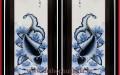 Tranh sứ phong thủy S1 – H112*W47 – Vẽ lam – Lý Ngư Vọng Nguyệt Nổi