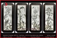 Tranh sứ phong thủy S2 – H94*W44 – Vẽ Tứ Cảnh trơn đen trắng