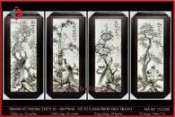 Tranh sứ phong thủy S3 – H83*W40 – Vẽ Tứ Cảnh trơn đen trắng