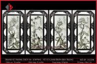 Tranh sứ phong thủy S4 – H76*W41 – Vẽ Tứ Cảnh trơn đen trắng