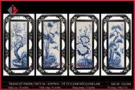 Tranh sứ phong thủy S4 – H76*W41 – Vẽ Tứ Cảnh đắp nổi xanh lam