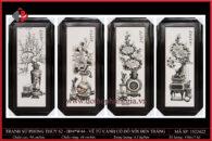 Tranh sứ phong thủy S2 – H94*W44 – Vẽ Tứ Cảnh cổ đồ nổi đen trắng