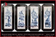 Tranh sứ phong thủy S2 – H94*W44 – Vẽ Tứ Cảnh cổ đồ nổi xanh lam
