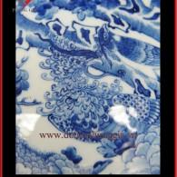 Bóng chiêu tài hút lộc Ø32 – men trắng xanh vẽ Bách Điểu Triều Phụng