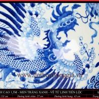 Lộc bình cao 1m5 men trắng xanh vẽ Tứ Linh Tiến Lộc