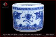 Bát hương trắng xanh vẽ Lưỡng Long tranh châu Ø18cm