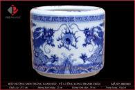 Bát hương trắng xanh vẽ Lưỡng Long tranh châu Ø22cm