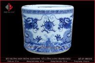 Bát hương trắng xanh vẽ Lưỡng Long tranh châu Ø40cm