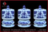 Đài thờ sứ H17-Ø10 men trắng xanh vẽ Rồng