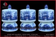 Đài thờ sứ H17-Ø10 men trắng xanh vẽ Hoa Sen