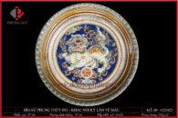 Đĩa trang trí phong thủy khắc đắp nổi Kì Lân vẽ mầu Ø35cm