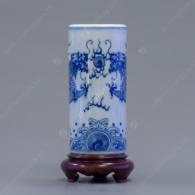Ống đựng hương S2-H17 men trắng xanh vẽ Long Phụng