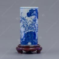 Ống đựng hương S2-H17 men trắng xanh vẽ Hoa Sen