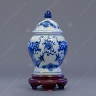 Chóe thờ cúng S6-V300ml-H15 men trắng xanh vẽ Long Phụng