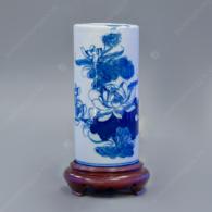 Ống cắm hương lam trắng vẽ Sen S2-H17cm