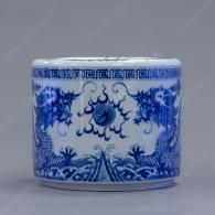 Bát hương trắng xanh vẽ Lưỡng Long tranh châu Ø20cm