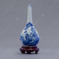 Nậm rượu thờ men trắng xanh vẽ Hoa Sen S4-H21-V450ml