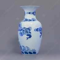 Lục bình dáng béo S1-H46 men trắng xanh vẽ Long Cuốn Thủy
