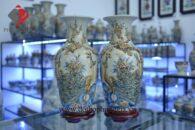 Bình hoa rạn nổi H47cm đắp Phú Quý Mãn Đường