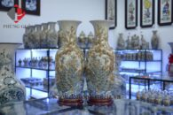 Bình hoa rạn nổi H63cm đắp Phú Quý Mãn Đường